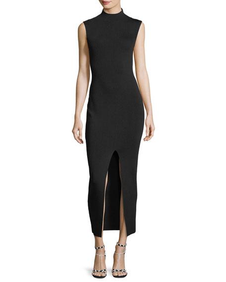 Mock-Neck Sleeveless Fitted Dress