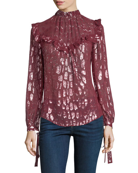 Veronica Beard Brooks Mock-Neck Long-Sleeve Silk Blouse w/