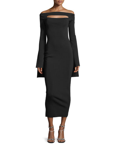 Off-the-Shoulder Peephole Long-Sleeve Knit Fitted Dress