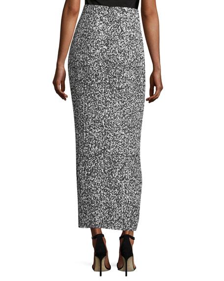Printed Pleated Maxi Skirt