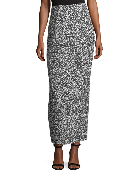 SOLACE LONDON Sana Pleated Noise Print Column Skirt in Blue Noise