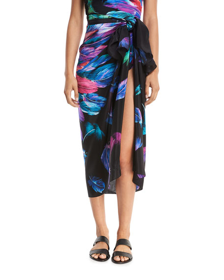 Gottex Reverie Bandeau Feather-Printed One-Piece Swimsuit and