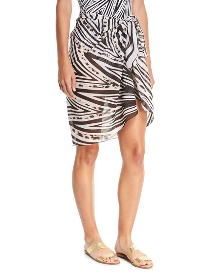 Star Leopard Pareo Swim Coverup, One Size
