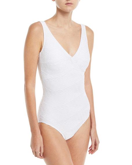Essence Surplice Textured One-Piece Swimsuit