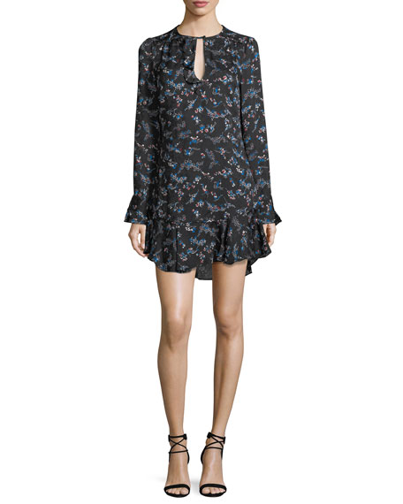 Preston Long-Sleeve Floral-Print Silk Dress