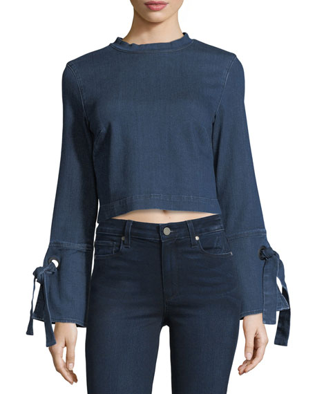 3x1 Hollow Tie-Cuffs Cropped Denim Shirt
