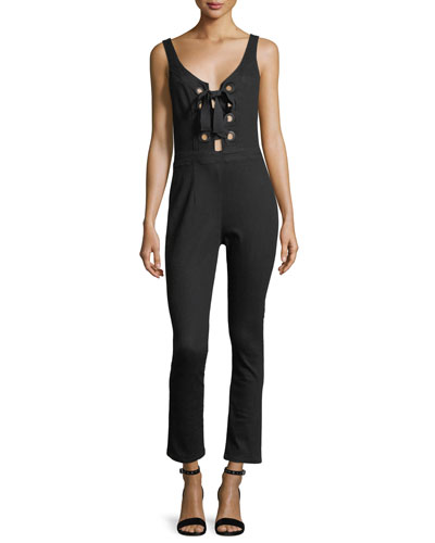 Sleeveless Lace-Front Straight-Leg Cropped Jumpsuit