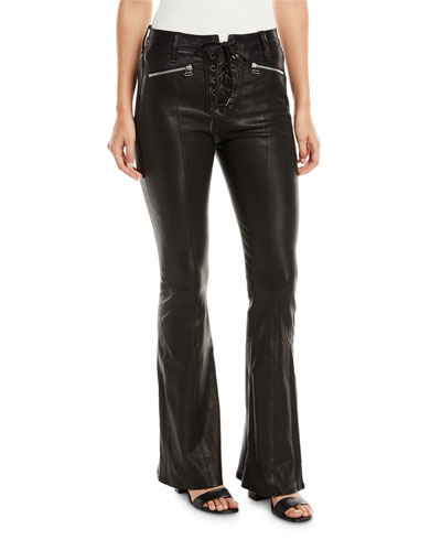 Bella Lace-Up Leather Bell Bottom Pants
