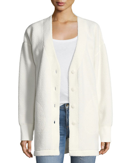 Sherpa Fleece V-Neck Button-Front Cardigan