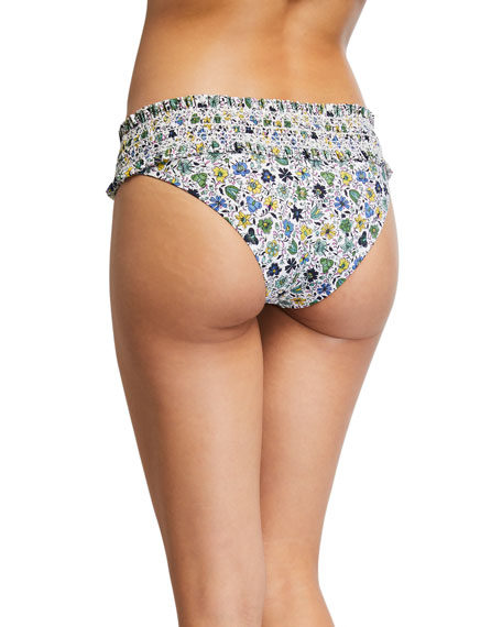 Costa Printed Hipster Smocked Swim Bottoms