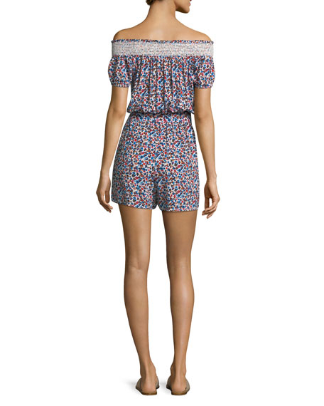 Wildflower Off-the-Shoulder Floral-Print Playsuit