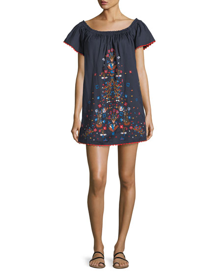 Wildflower Off-the-Shoulder Embroidered Cotton Coverup Dress
