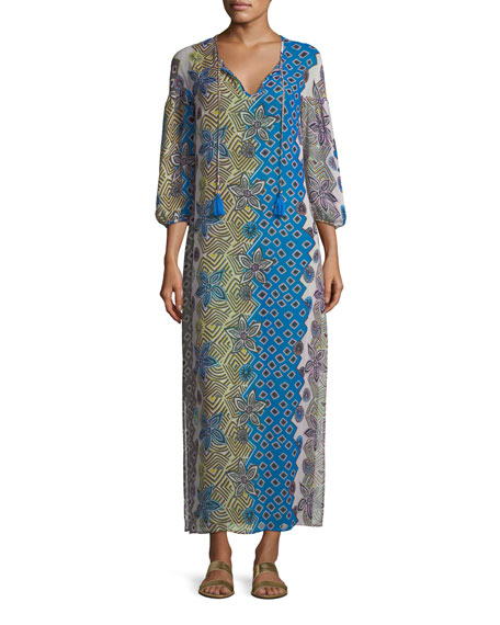 Jacinta Split-Neck Long Caftan Coverup
