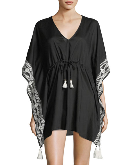 Ravena V-Neck Tie-Waist Cotton Caftan Coverup in Black
