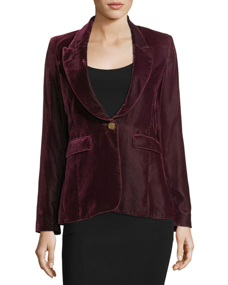 Peak-Lapel One-Button Velvet Blazer