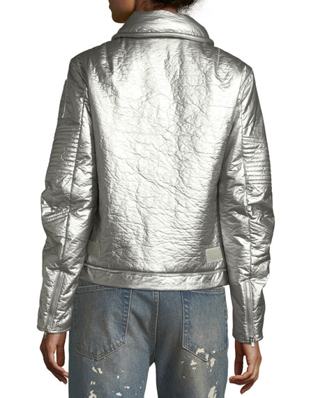 Helmut Lang Re-Edition Astro Metallic Zip-Front Moto Jacket