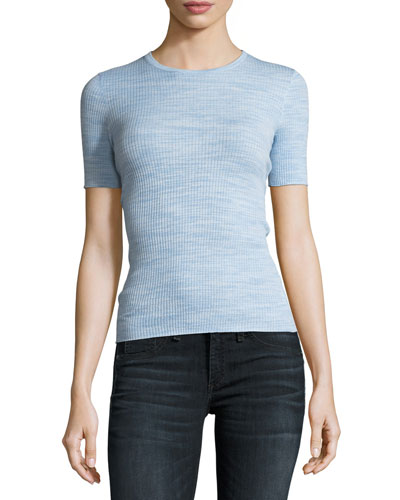 Crewneck Fitted Refine Merino Wool  Top