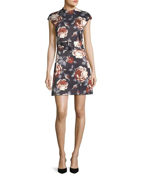 Mock-Neck Belted Floral-Print Satin Dress