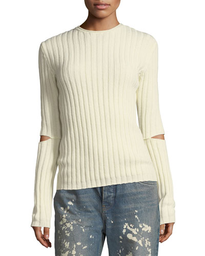 Crewneck Ribbed Elbow-Cutout Sweater