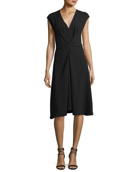 Theory V-Neck Cap-Sleeve Crepe Midi Dress