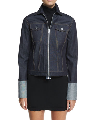 Helmut Lang Re-Edition Zip-Front Folded-Cuffs Denim Jacket
