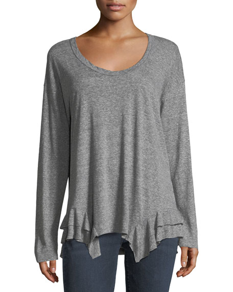 Current/Elliott The Tier Scoop-Neck Long-Sleeve Top