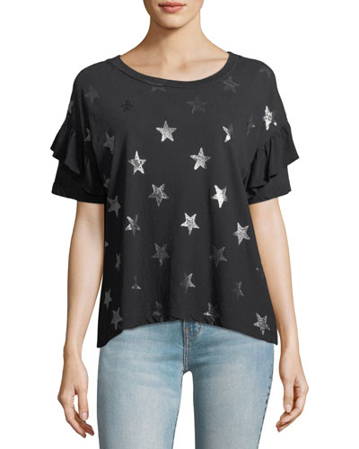 The Ruffle Roadie Star-Print Tee