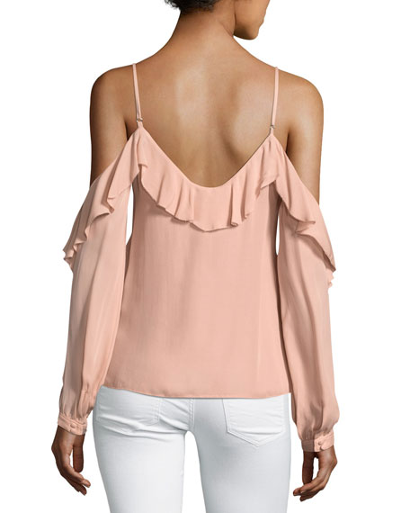 Arabeth Cold-Shoulder Silk Blouse
