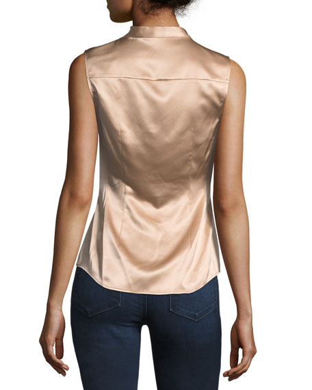 Button-Front Ruched Fitted Stretch-Satin Top