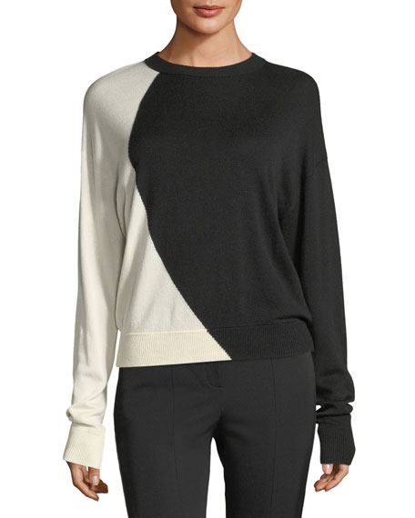 Theory Colorblocked Oversized Intarsia Crewneck Cashmere-Silk Sweater