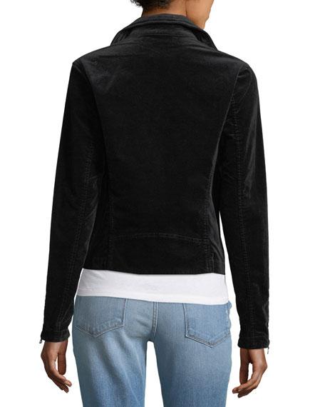 Quincy Zip-Front Velveteen Biker Jacket