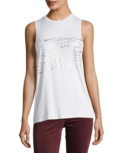 Clio Crewneck Sleeveless Performance Tank with Metallic Print