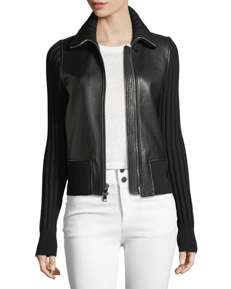 Stand-Collar Zip-Front Leather Moto Jacket