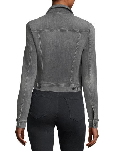 Harlow Button-Front Shrunken Denim Jacket