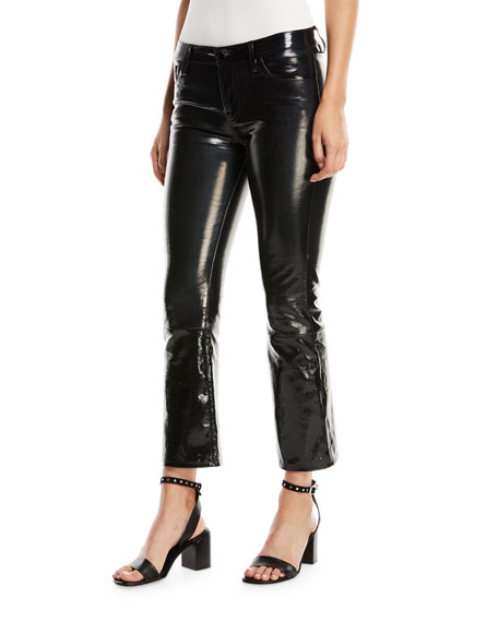 J Brand Selena Mid-Rise Fitted Boot-cut Patent Leather