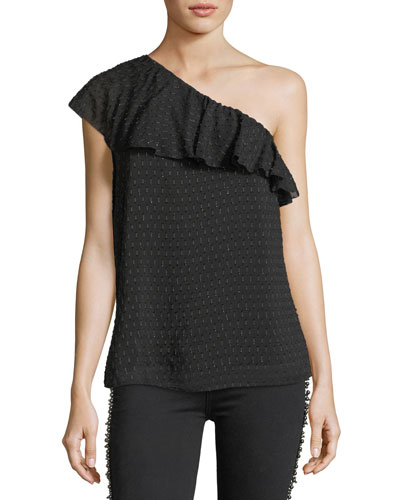 Shandi One-Shoulder Chiffon Top
