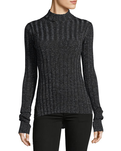 Wide Rib Mock-Neck Refine Merino Wool Top
