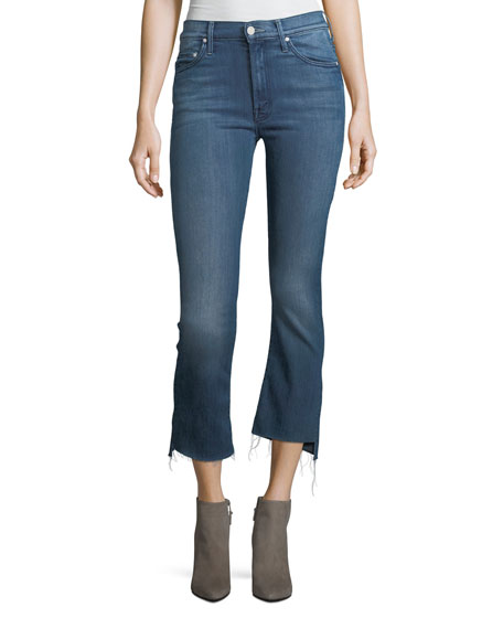Mother Insider Crop Step-Fray Denim Jeans, Crack the