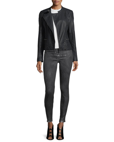Bullocks High-Rise Lace-Up Skinny-Leg Jeans with Metallic