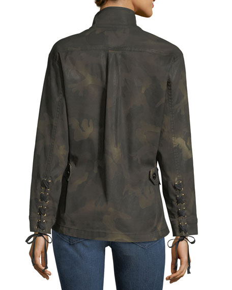 Military Camo Long-Sleeve Button-Front Jacket