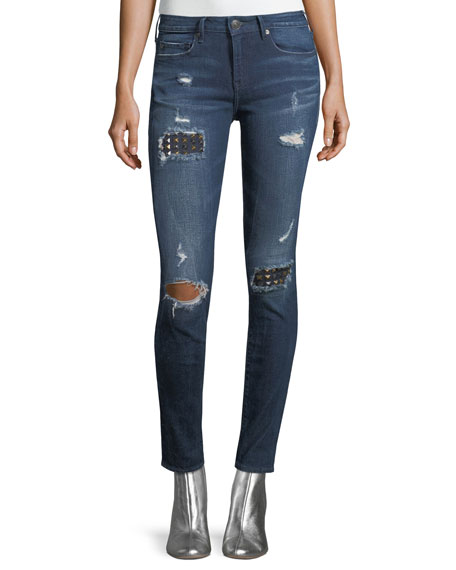 True Religion Halle Distressed Skinny-Leg Jeans with Studs