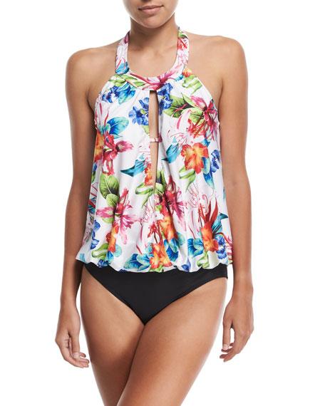 Tropical Trip High-Neck Blouson One-Piece Swimsuit, Plus Size