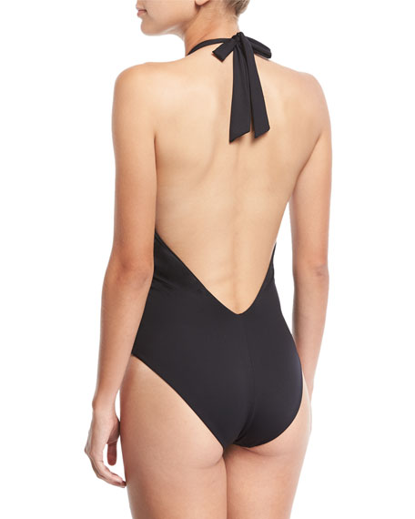 See-Queen Plunging Halter Maillot One-Piece Swimsuit