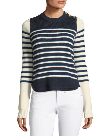 Amos Striped Merino Button Sweater