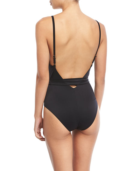 V-Neck Wrap Maillot One-Piece Swimsuit