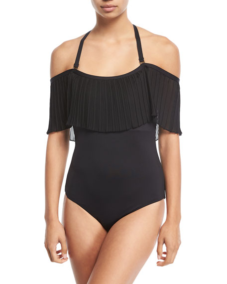 Please Say Plisse Off-the-Shoulder Maillot One-Piece Swimsuit