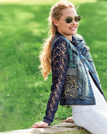 Blues Temptation Lace & Denim Jacket, Plus Size