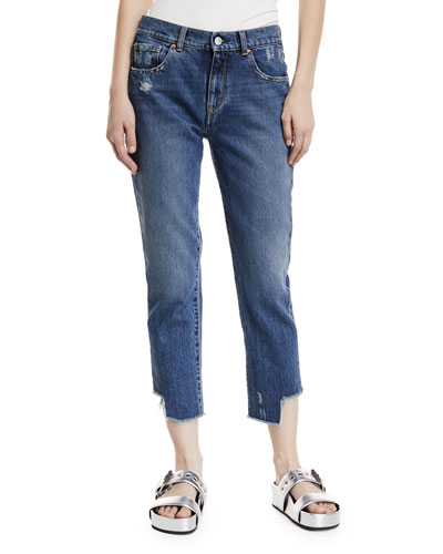 Gemma Mid-Rise Distressed Straight-Leg Crop Jeans