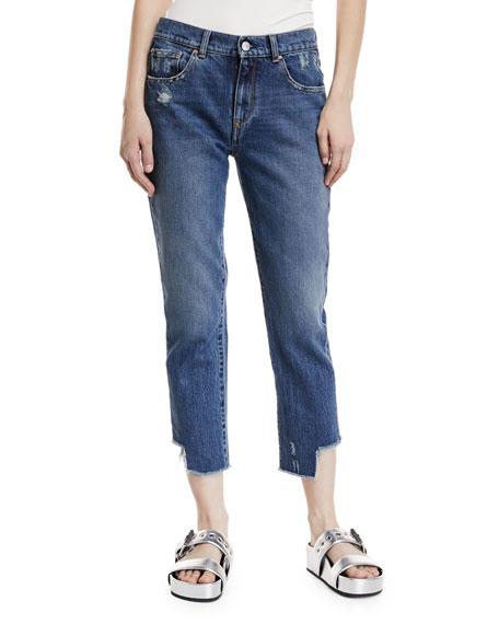 Acynetic Gemma Mid-Rise Distressed Straight-Leg Crop Jeans
