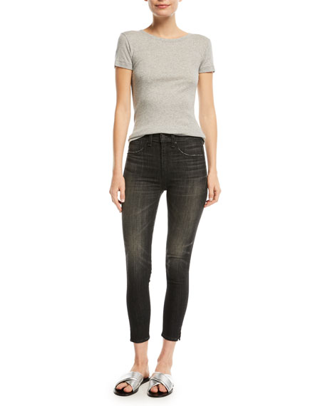 High-Rise Ankle Skinny-Leg Jeans with Slit